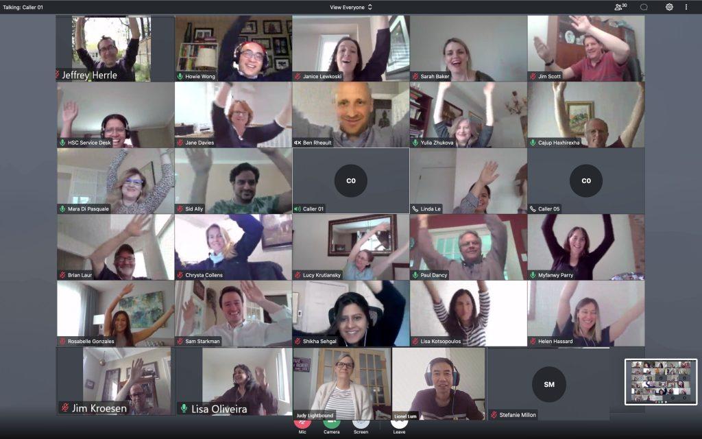 HSC staff on video call waving