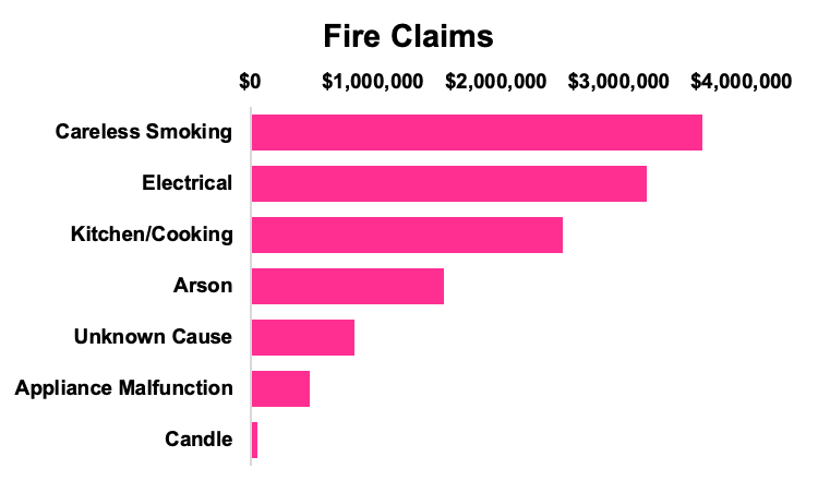 Bar chart of fire claims organized by type and cost, with careless smoking claims as the most expensive.