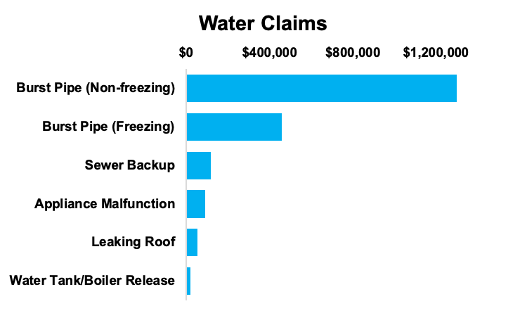 Bar chart of water claims with burst pipe claims leading the way.