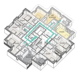 Floor plan with arrows showing air flow